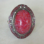 Art Deco Ring Sterling Silver Red Czech Glass Enameled Accent
