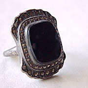 Art Deco Ring Sterling Silver Onyx & Marcasite