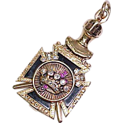 14k Fob Diamond & Ruby Knights Templar 32nd Degree Masonic OPENS