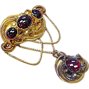 Large 18k Gold Garnet Early Victorian Festoon Brooch With Box