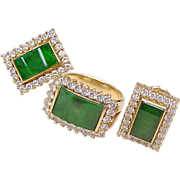 Jadeite & Diamond Ring & Earring Set 18k Gold