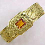 Vintage Filigree Gold Plate Bangle Bracelet Jeweled Clasp 1930's