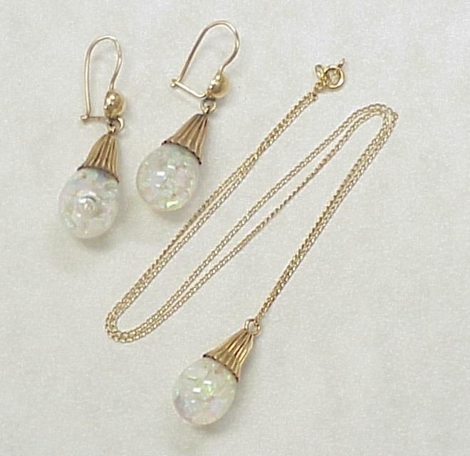 vintage floating opal earrings necklace set 14k gold