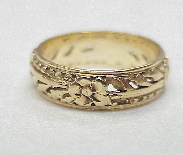 Alfa Img Showing Antique Gold Floral Wedding Bands