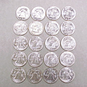 Gem BU Roll of 1963 Franklin Silver Half Dollars