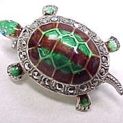 Vintage Pin/Brooch Germany Sterling Silver TURTLE Colorful Enamel