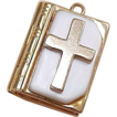 Vintage 14k Gold Charm BIBLE Opens ~ Lords Prayer, Mother of Pearl Detail