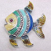 Colorful Guilloche Enamel FISH Pin/Brooch Marcasite & Garnet Accent