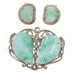 Carved Jade & Diamond Brooch & Earrings 18k & 14k Gold