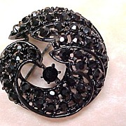REDUCED Vintage 1960's Brooch Japanned With Black Rhinestones
