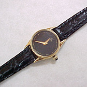 Vintage Ladies CONCORD Watch 14k Gold Leather Strap