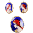Vintage French LIMOGES ENAMEL Set 14k Earrings & Pendant/Brooch