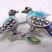 Sterling Pin/Brooch Germany Colorful Enameling & Marcasite LOVE BIRDS