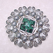 Early 800 Silver Cannetille Filigree Brooch With Malachite