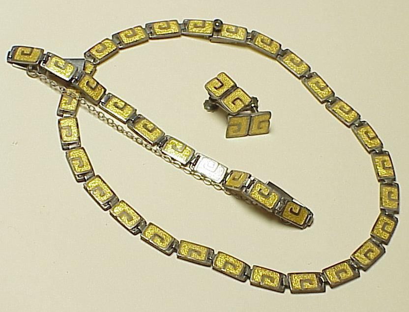 Vintage Margot De Taxco Enameled Set Necklace, Bracelet & Earrings