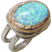 Navajo Crafted Opal Ring Sterling Silver & 14k Gold Marie Smith