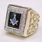 BIG Vintage Masonic Ring .36 ctw DIAMOND Nugget Style 28.8 Grams