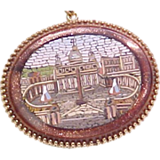 Grand Tour Micro Mosaic Pendant / Necklace St. Peters ROME 14k Gold