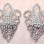 Vintage MUSI Rhinestone Shoe Clips ~ Big & Flashy