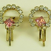 Gold Filled Pink & White Rhinestone Earrings Screw Back 1960's