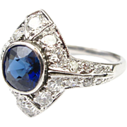 Art Deco Ring Platinum Sapphire 1.05 ct & Diamond .90 ctw