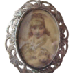 Victorian Portrait Brooch  Pendant 800 Silver, Child / Girl