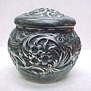 Art Nouveau Sterling Silver Repousse Floral Chased Lidded Jar