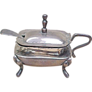 Vintage Sterling Silver SANBORNS Covered Salt Cellar & Scoop