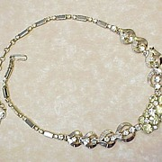 Vintage Rhinestone Necklace Yellow & White Sarah Covenrty 1960's