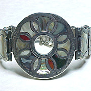 Victorian Bracelet Sterling Silver Scottish Agate & Mother of Pearl