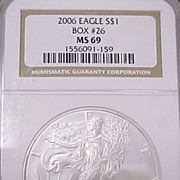 US Silver Eagle Coin NGC Graded MS69