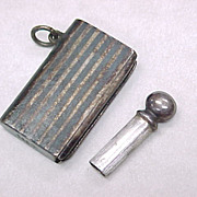 Snuff Bottle Pendant 900 Silver BOOK Figural Pin Strip Design