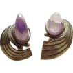 RARE Modernist Earrings 1940's SPRATLING Sterling & Amethyst