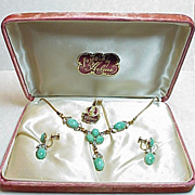 Czech Glass 12K GF Necklace & Earring SET in Original Box 1950's
