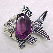Vintage Pin / Pendant Sterling Silver FISH Amethyst Glass Accent