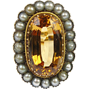 Edwardian Era Imperial TOPAZ & Pearl Ring 14k Gold