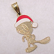 Holiday TWEETY Bird  Looney Tunes 14k Gold Charm
