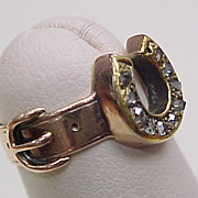 Victorian Rose Cut Diamond Ring Horse Shoe & Buckle Design