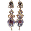Victorian Enameled Long Dangle Earrings 14k Garnet & Seed Pearl