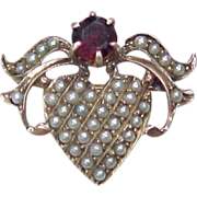 Early Victorian Romantic Heart Pin 9k Gold Seed Pearl & Garnet