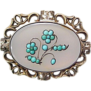 Early Victorian Brooch / Pendant Quartz & Persian Turquoise 9k Gold