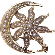 Victorian 14k Gold SUN & MOON Brooch, Seed Pearl Accent