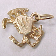 Vintage 14k Gold Charm CRAB, Crustacean, Nautical