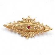 Victorian Love Token Brooch Ruby & Diamond 9 Ct Gold