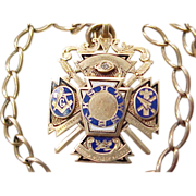 Masonic Knights Templar Fob 1894 DIAMOND 14K Gold