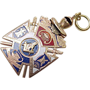Masonic Fob / Pendant 14k Gold Enameled circa 1900