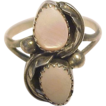 Navajo Vintage Sterling Ring Double Pink Mother Of Pearl
