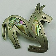 Mexico Vintage Sterling In-laid Abalone Kneeling Donkey Pin