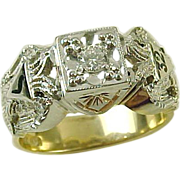 Vintage 32nd Degree 14K Two Tone Gold & Diamond Masonic Ring
