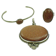 Vintage Sterling Silver Gold Stone Three Piece Set Pendant, Ring, Bracelet